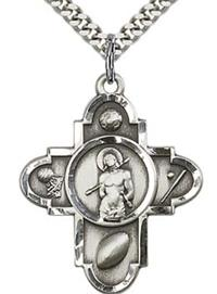 "1"" Sebastian Sport 5-Way Medal Sterling Silver, your choice of chain # 43475"