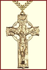 "1-1/2"" Celtic Crucifix 14kt Gold Filled, Your Choice of Chain, # 43514"