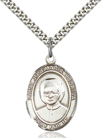 "1""x3/4"" Sterling Silver St. Josemaria Escriva Medal, Your Choice of Chain, # 45018"