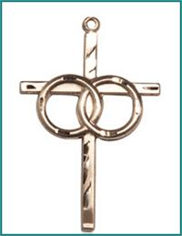 "1-1/8"" Wedding Cross, Solid 14kt Gold, Free Chain, # 45374"