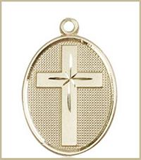 "1"" Oval Cross, Solid 18kt Gold, Free Chain, # 45402"