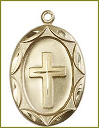 "1"" Oval Cross, Solid 18kt Gold, Free Chain, # 45406"