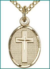 "1/2"" Oval Cross, 14kt Gold Filled, your choice of chain, # 45424"