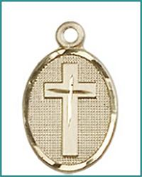 "1/2"" Oval Cross, Solid 18kt Gold, Free Chain, # 45426"