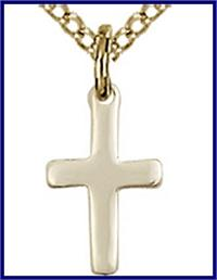 "1/2"" 14kt Gold Filled, Cross, your choice of chain, # 45437"