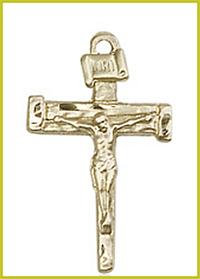 "1"" Solid 18kt Gold Nail Crucifix, Free Chain, # 45496"