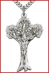"1-5/8"" Tree of Life Crucifix, Sterling Silver, your choice of chain, # 45538"