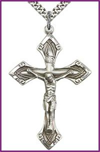"1-7/8"" Crucifix, Sterling Silver, your choice of chain, # 45553"