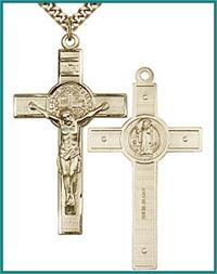 "1-3/4"" St. Benedict Crucifix, 14kt Gold Filled, your choice of chain, # 45570"