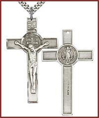"1-3/4"" St. Benedict Crucifix in Sterling Silver, your choice of chain, # 45690"