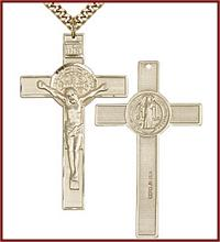 "1-3/4"" St. Benedict Crucifix 14kt Gold Filled, your choice of chain, # 45691"