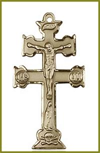 "1-1/2"" Caravaca Crucifix in Solid 18kt Gold, Free Chain, # 45712"