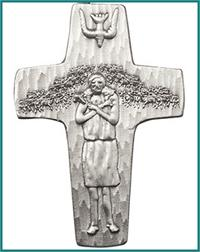 "Visor Clip, Silver Oxide Finish, Pope Francis Cross, 1-7/8"", # 45758"