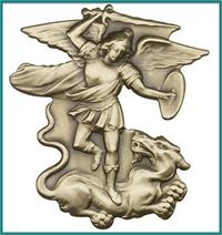 "Visor Clip, Bronze Oxide Finish, St. Michael, 2"" tall, # 45794"