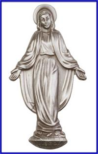 "Visor Clip, Silver Oxide Finish, O.L. Miraculous Medal, 2-1/8"" tall, # 45795"