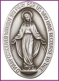 "Visor Clip, Silver Oxide Finish, Miraculous Medal, 1-1/2"" tall, # 45805"