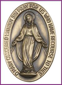 "Visor Clip, Bronze Oxide Finish, Miraculous Medal, 1-1/2"" tall, # 45806"
