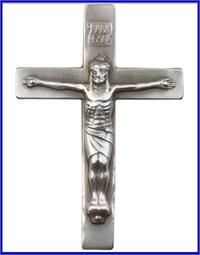 "Visor Clip, Silver Oxide Finish, Crucifix, 2-1/2"" tall, 45822"