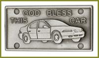 "Visor Clip, Silver Oxide Finish, God Bless This Car, 2-1/2"" wide, # 45833"