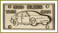 "Visor Clip, Bronze Oxide Finish, God Bless This Car, 2-1/2"" wide, # 45834"