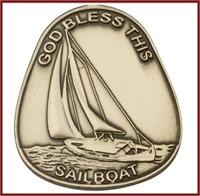 "Visor Clip, Bronze Oxide Finish, God Bless This Sailboat, 1-5/8"" tall, # 45843"