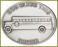 "Visor Clip, Silver Oxide Finish, God Bless This (Bus) Driver, 1-1/2"" wide, # 45846"