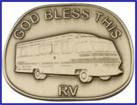 "Visor Clip, Bronze Oxide Finish, God Bless This RV, 1-1/2"" wide, # 45851"