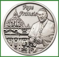 "Visor Clip, Silver Oxide Finish, Pope Francis, 1-1/2"", # 45869"