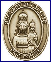 "Visor Clip, Bronze Oxide Finish, Our Lady of Loretto, 1-5/8"", # 45934"
