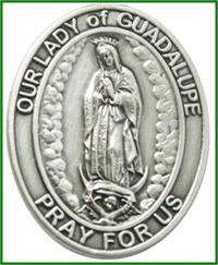 "Visor Clip, Silver Oxide Finish, Our Lady of Guadalupe, 1-5/8"", # 45964"