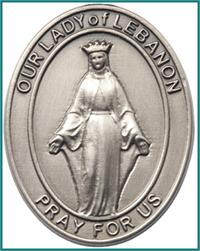"Visor Clip, Silver Oxide Finish, Our Lady of Lebanon, 1-5/8"", # 45966"
