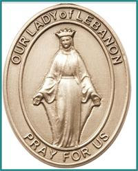 "Visor Clip, Bronze Oxide Finish, Our Lady of Lebanon, 1-5/8"", # 45967"