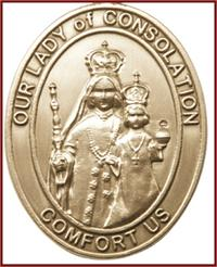 "Visor Clip, Bronze Oxide Finish, Our Lady of Consolation, 1-5/8"", # 45973"