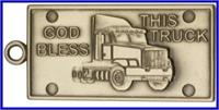 "Keychain, Bronze Oxide Finish, God Bless This Truck, 2-1/8"" wide, # 45993"