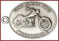 "Keychain, Silver Oxide Finish, God Bless This Motorcycle, 2-1/4"" wide, # 45996"
