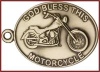 "Keychain, Bronze Oxide Finish, God Bless This Motorcycle, 2-1/4"" wide, # 45997"