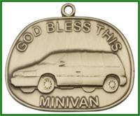 "Keychain, Bronze Oxide Finish, God Bless This Minivan, 1-3/8"" wide, # 48002"