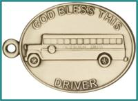 "Keychain, Bronze Oxide Finish, God Bless This (bus) Driver, 2-1/4"" wide, # 48004"