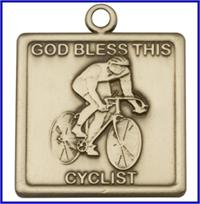 "Keychain, Bronze Oxide Finish, God Bless This Cyclist, 1-1/4"" wide, # 48006"