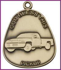 "Keychain, Bronze Oxide Finish, God Bless This Pickup, 1-7/8"" tall, # 48008"
