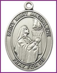 "Keychain, Silver Oxide Finish, St. Mary Magdalene, 1-7/8"" tall, # 48030"
