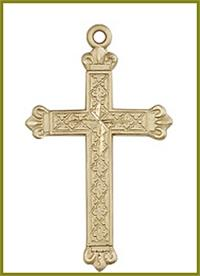 "1-1/8"" Solid 18kt Gold Cross, Free Chain, # 48155"