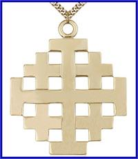 "1-3/8"" Jerusalem Cross, 14kt Gold Filled, your choice of chain, # 48194"
