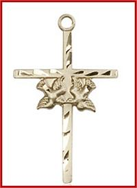 "1"" Solid 18kt Gold Twin Dove Cross, Free Chain, # 48240"