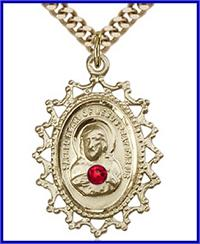 "1"" 14kt Gold Filled Scapular Medal, Your Choice of 3mm Swarovski Birthstone (Ruby Displayed), your choice of chain, # 48280"