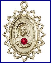 "1"" Solid 18kt Gold Scapular Medal, Your Choice of 3mm Swarovski Birthstone (Ruby Displayed), Free Chain, # 48282"