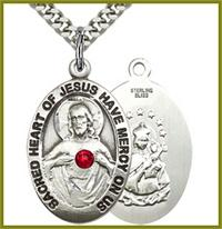 "1"" Sterling Silver Scapular Medal, Your Choice of 3mm Swarovski Birthstone (Ruby Displayed), your choice of chain, # 48291"