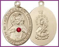 "1"" Solid 18kt Gold Scapular Medal, Your Choice of 3mm Swarovski Birthstone (Ruby Displayed), Free Chain, # 48324"