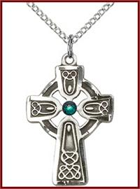 "1"" Sterling Silver Celtic Cross, Your Choice of 3mm Swarovski Birthstone (Emerald Displayed), your choice of chain, # 48358"