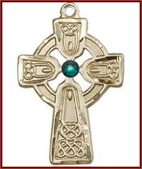 "1"" Solid 14kt Gold Celtic Cross, Your Choice of 3mm Swarovski Birthstone (Emerald Displayed), Free Chain, # 48360"